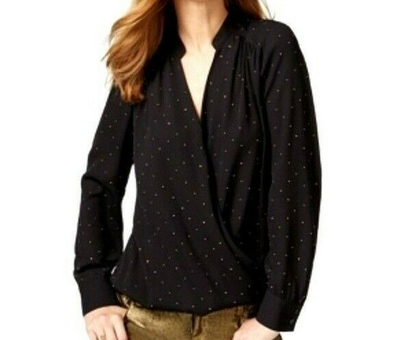 Primary image for Inc International Concepts Embellished Surplice Blouse Deep Black 2