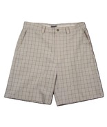 "IZOD XFG Beige Plaid Flat Front Shorts Men's W36 Inseam 9.5"" 100% Polyester - $19.31"