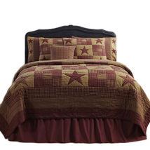 4-pc Queen Classic Ninepatch Star Quilt Set - Burgundy/Tan Farmhouse Quilt