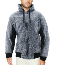 Men's Salt and Pepper Soft Sweater Sherpa Lined Heathered Zip Up Hoodie Jacket image 2
