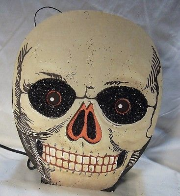 Bethany Lowe Halloween Vintage Skull Lantern plus C-7 light!