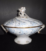Pirkenhammer Antique Bowl Centerpiece Covered Footed 1850's Fischer & Mieg  - $237.50