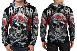 Asking Alexandria A grey Skull Hoodie Zipper Fullprint Men - $46.80