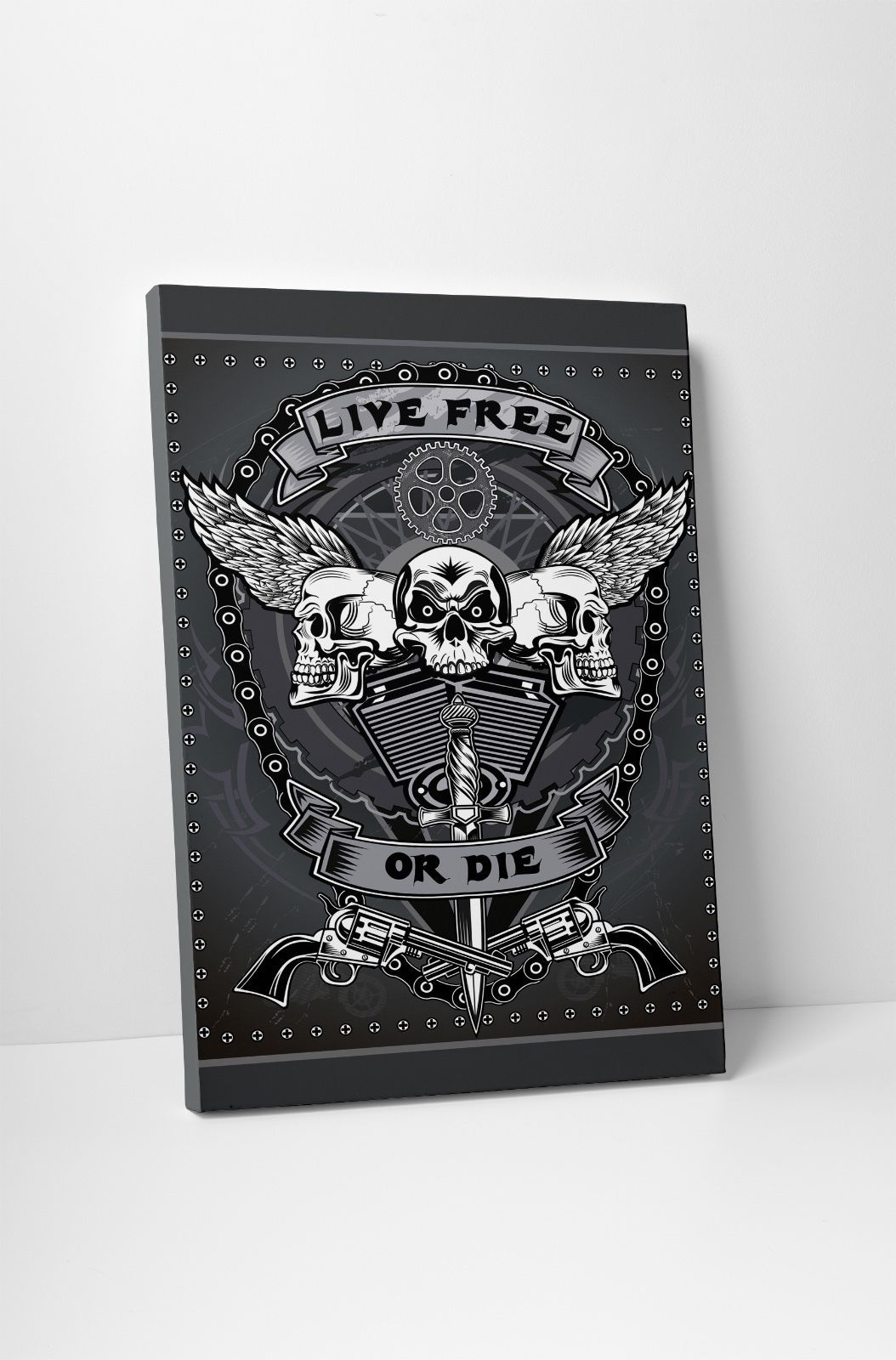 "Primary image for Live Free or Die Motorcycle Art Gallery Wrapped Canvas Print. 30""x20 or 20""x16"""