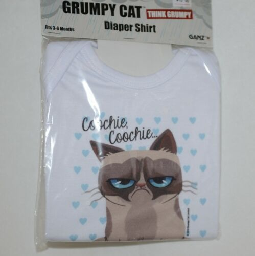 Ganz HGC13207 Grumpy Cat Diaper Shirt Fits 3 to 6 Months 100 Precent Cotton