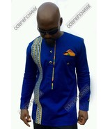 Odeneho Wear Men's Polished Cotton Top/Embroidery And Kente. African Clo... - $83.16+
