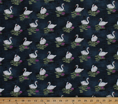 Odette Swans Birds Water Lilies Midnight Cotton Fabric Print by Yard D75... - $11.95