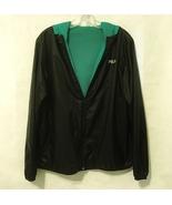 Fila Sport Hooded Windbreaker Reversible Jacket Black Green Mesh Zipper ... - $40.00