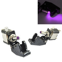 2Pcs 12V 20A Car Carbon Fiber Purple LED Toggle Switch Light Racing SPST Sales - $5.69