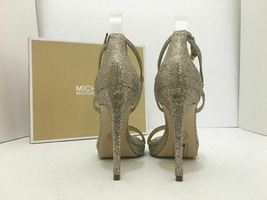 Michael Kors Simone Women's Evening High Heels Sandals Silver Sand Glitter 7 M image 4