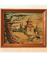 Vintage Paint by Number Painting Pagoda Bridge Tree Japanese Scene Frame... - $48.95