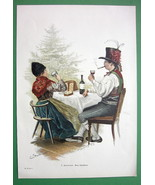 CHRISTMAS DINNER in Germany Toast Folk Dresses - VICTORIAN Era Engraving... - $13.46