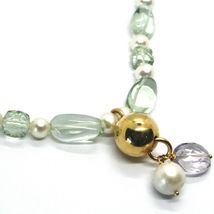 18K ROSE GOLD LARIAT NECKLACE WHITE FW PEARLS, PRESIOLITE, AMETHYST PENDANT image 3