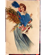 Simply Beautiful Art Nouveau Pretty Lady Vintage Postcard, Real Feathers... - $15.00