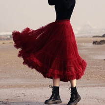Burgundy Midi Puffy Tutu Skirt Burgundy High Waisted Layered Tulle Skirt Plus  image 7