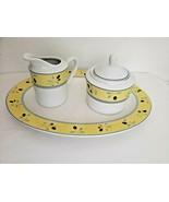 Royal Doulton Blueberry Oval Serving Plate Sugar Bowl Creamer Set White Yellow - $39.58