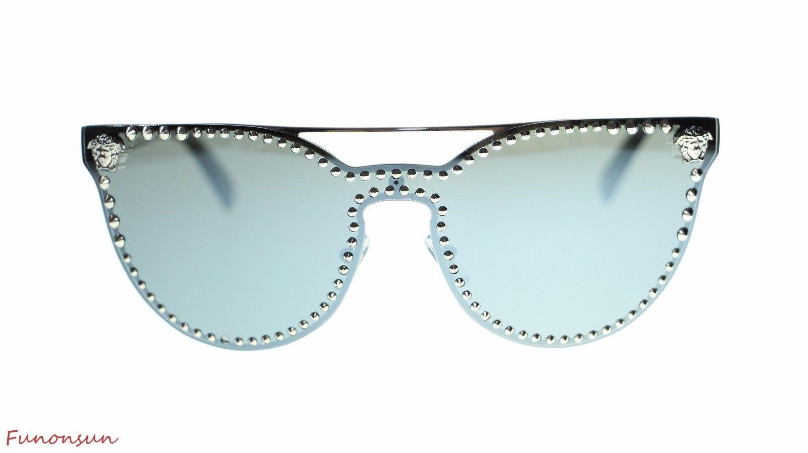443d5e54dc5 S l1600. S l1600. Previous. Versace Cat Eye Women s Sunglasses VE2177  10006G Silver Grey Mirror Lens 45mm