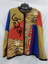 Alex Kim Button Front Textured Patchwork Cardigan Jacket Sz L EUC 1103 - $27.09