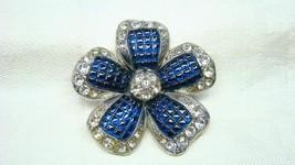 Vintage Nina Ricci For Avon Blue Rhinestone Flower Pin Early Mark - $49.99