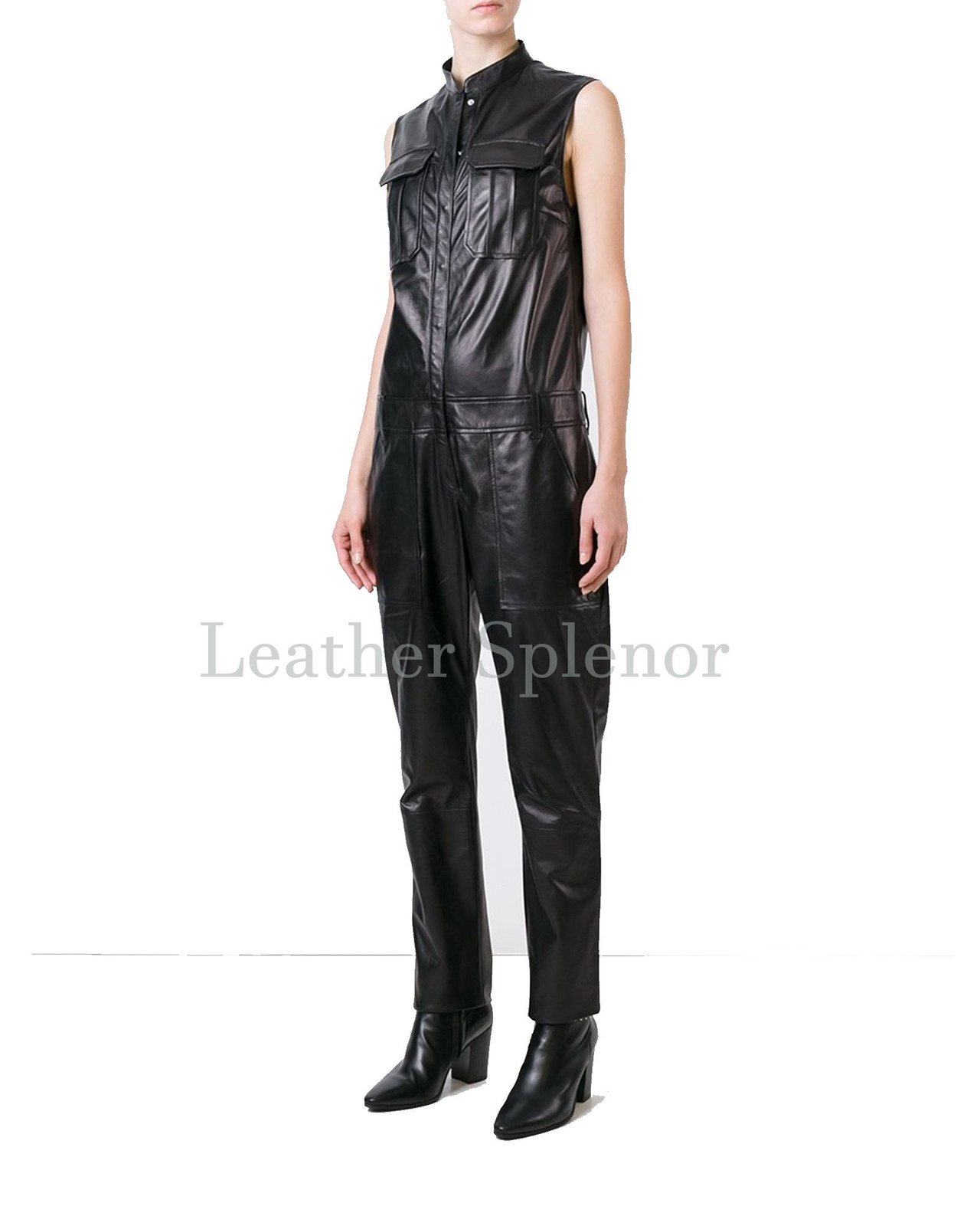 Shirt Styled Motorcycle Women Leather Jumpsuit
