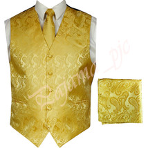 Gold XS to 6XL Paisley Tuxedo Suit Dress Vest Waistcoat & Neck tie Hanky - $23.74+