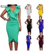ZANZEA Women Sleeveless V Neck Ruffles Pencil Dress Sexy Bodycon Dresses... - $29.58