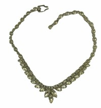 """Vintage Weiss Clear Prong Set Rhinestone Collar Choker Cocktail Necklace 15"""" - $27.89"""