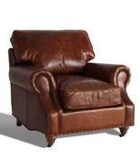 MarquessLife Hamdmade Single Sofa Couch Antique Style Full Genuine Aged ... - $1,880.12
