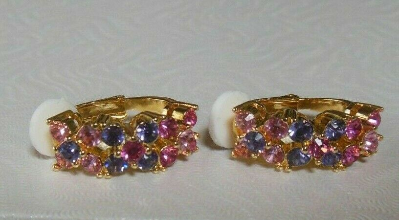 Primary image for Vintage Joan Rivers Gold-tone Pink/Purple Rhinestone Floral Clip-on Earrings