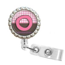 "Pink & Brown Polka Dot Monogram ""O"" Retractable Reel ID Name Tag Badge H... - $10.00"