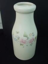Pfaltzgraff Off White Stoneware Milk Cream Bottle Tea Rose Floral Jug Va... - $14.99