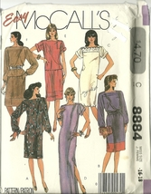 McCall's Sewing Pattern 8884 Misses Womens Dress Skirt Top Size 16 18 New Uncut - $9.99