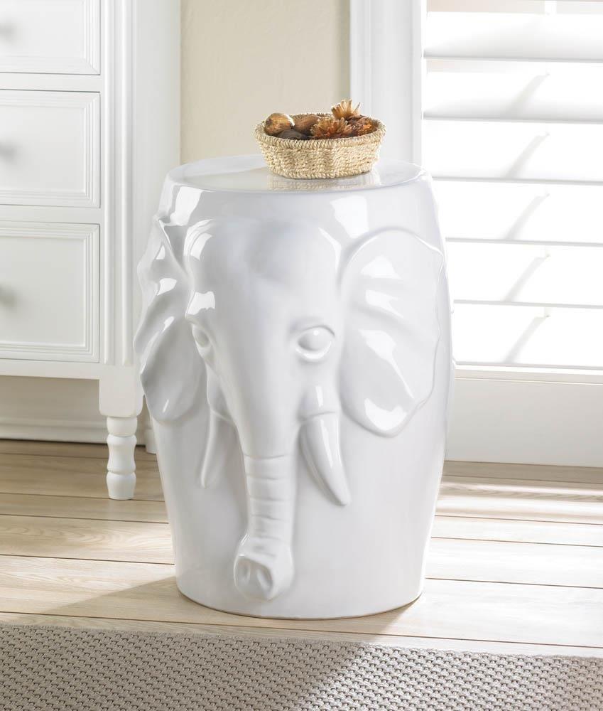 Decorative Ceramic Stool, Elephant Indoor Outdoor Small Ceramic Garden Stool
