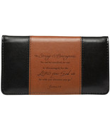 """Checkbook Cover Two-Toned Brown/Black """"Be Strong & Courageous"""" Brand NEW - $13.14"""