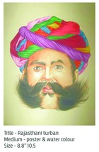 RAJASTHAN TURBAN OLD MAN FORM OF MINIATURE PAINTING - $163.63