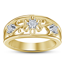 Wedding Women's Band Ring Yellow Gold Plated Pure 925 Silver Round Cut D... - $71.88