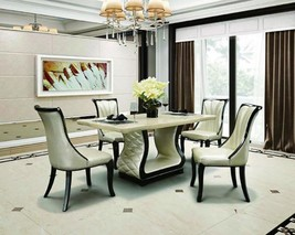 Maxwest DT-117, DC-117 Modern Black &  Cream Faux Marble Top Dining Set 5Pcs