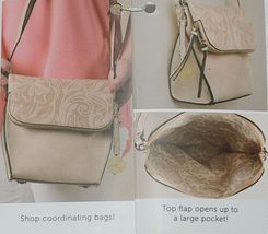 Simply Noelle Brand Tan Taupe Color Floral Leaf Pattern Womens Purse image 9
