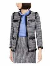 ANNE KLEIN Womens Size 4 Gray Printed Blazer Jacket - $59.39