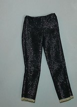 Barbie doll clothes shiny black  denim capri jeans pants fits wide hipped  - $7.99