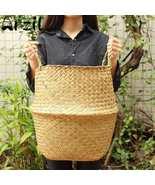 Folding Flower Pot Straw Basket Storage Vase Hanging Garden Organization... - $19.50