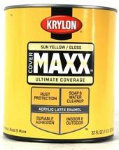 1 Can Krylon 32 Oz Cover Maxx 9624 Gloss Sun Yellow Acrylic Latex Enamel - $25.99