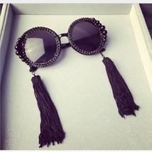 Vazrobe Tassel Rhinestone Luxury Sunglasses Women fashion Round woman's ... - $23.06