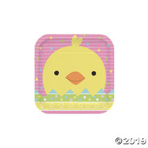 Chick & Bunny Easter Square Paper Dessert Plates - $15.25