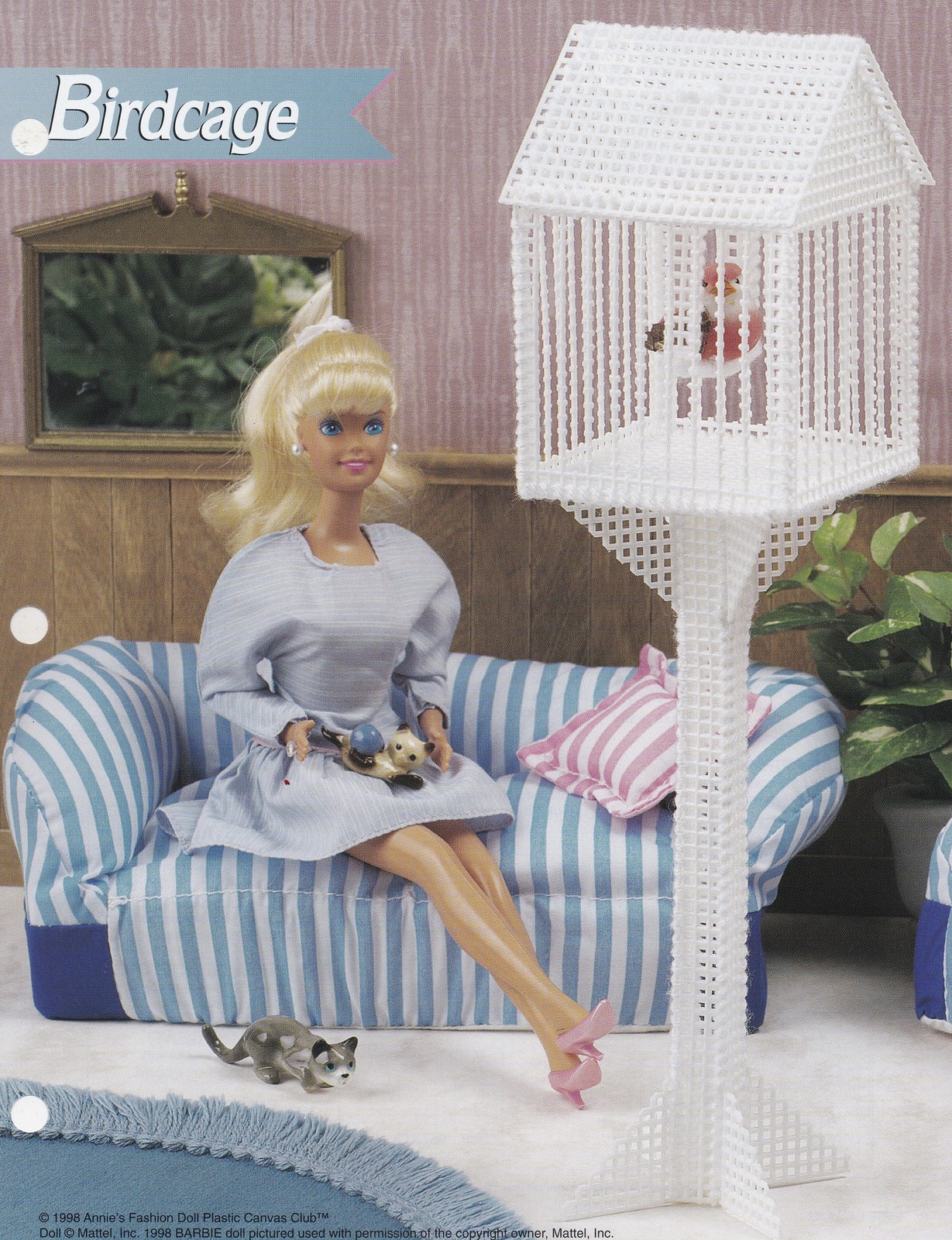 Primary image for Birdcage, Annie's Fashion Doll Plastic Canvas Pattern Club Leaflet FP35-04 RARE