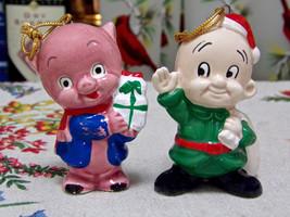 Warner Brothers Porky Pig Elmer Fudd Christmas Ornaments 1977 - $4.90