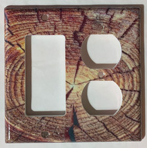 Circle Wood Photo image Light Switch Outlet wall Cover Plate Home decor image 6