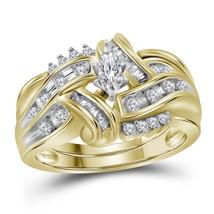 10kt Yellow Gold Marquise Diamond Bridal Wedding Engagement Ring Set 1/2 Ctw - $890.64