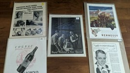5 vintage  Magazine Ads 1920  - 1946 Hiram Walker Lucky Cognac Hennessy ... - $15.83