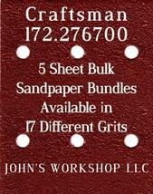 Craftsman 172.276700 - 1/4 Sheet - 17 Grits - No-Slip - 5 Sandpaper Bulk Bundles - $7.14